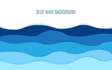 Paper art cartoon sea waves. Vector illustration