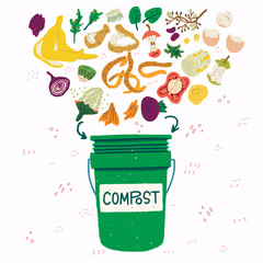 Compost bin with food scraps illustration