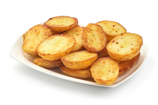 Fried Potatoes, close-up, isolated on white background