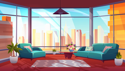 Living room with panoramic window interior, cozy spacious apartment with couch, armchair, coffee table and floor-to celling glass wall with cityview, modern luxurious loft. Cartoon vector illustration