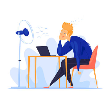 Heat in the office, summer, man sitting at the table sweaty. Flat design vector illustration.