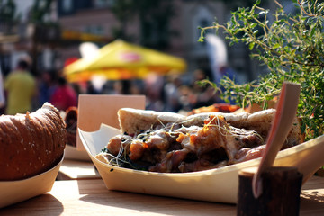 organic food on street food festival. special food sold on Open kitchen food festival event.