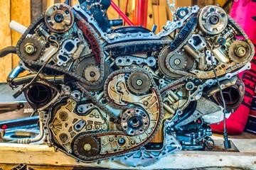 v8 engine from car being rebuilt in garage