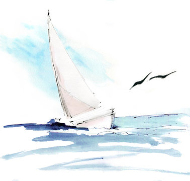 Yacht in sea with seagulls. Colorful watercolor hand painted lllustration, wallpaper, background with sail boat.