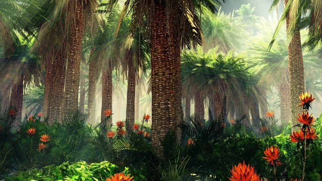 Blooming jungle in the fog, flowers among palm trees, palm trees in the fog