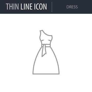 Symbol of Dress. Thin line Icon of Fashion. Stroke Pictogram Graphic for Web Design. Quality Outline Vector Symbol Concept. Premium Mono Linear Beautiful Plain Laconic