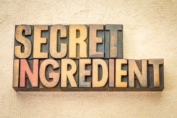 secret ingredient word abstract in wood type