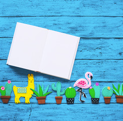 Creative background with trendy exotic hand drawn cut elements