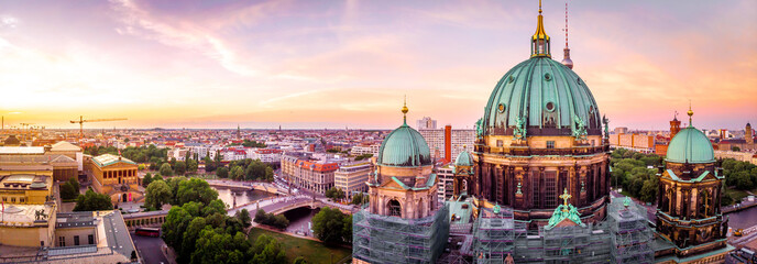 Berliner dom after sunset, Berlin Wall mural