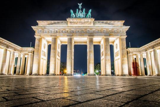Brandenburg gate at twilight in summer, Berlin