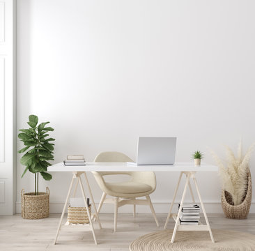 Poster mock up in home interior background, home office, Scandi-boho style, 3d render