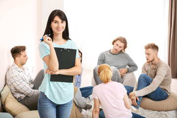 Fotomurales - People with psychologist at group therapy session