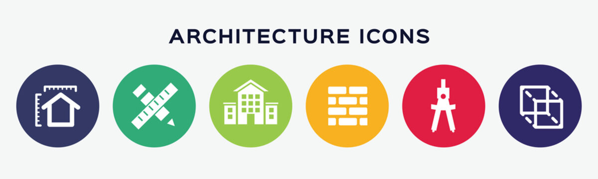 Vector architecture icons on white background.