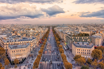 Wall Mural - Champs-Elysees avenue in Paris at sunset