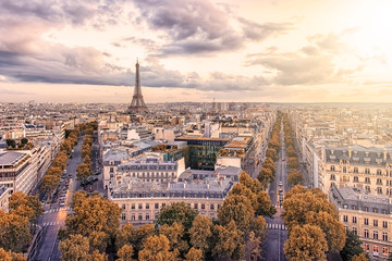 Wall Mural - Paris city with Eiffel Tower viewed from the Arc De Triomphe