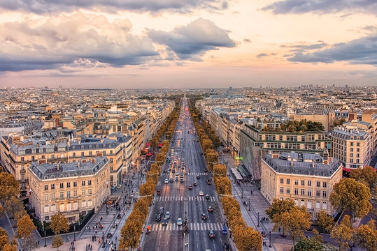 Champs-Elysees avenue in Paris at sunset