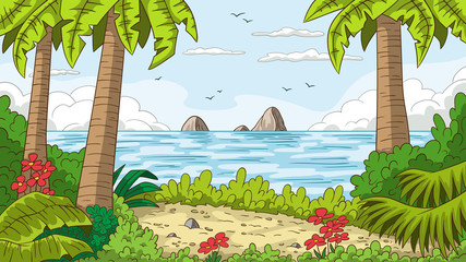 Wall Mural - Tropical summer landscape with trees. Vector illustration with separate layers.