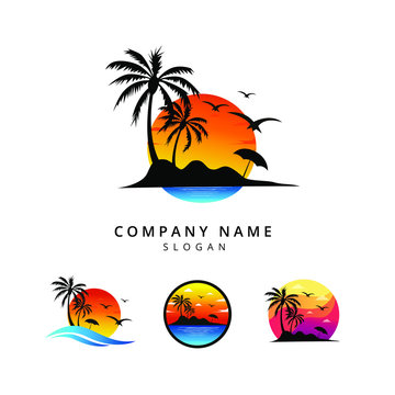 Set of sunset logo vector template
