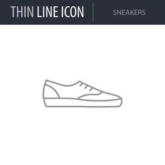 Symbol of Sneakers. Thin line Icon of Fashion. Stroke Pictogram Graphic for Web Design. Quality Outline Vector Symbol Concept. Premium Mono Linear Beautiful Plain Laconic