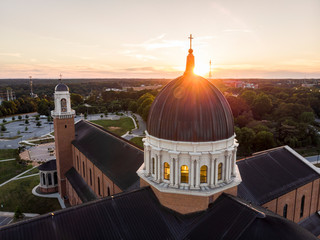 Aerial View of Cathedral in Raleigh, North Carolina at Sunset