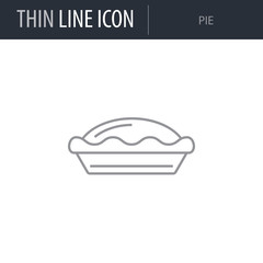 Symbol of Pie. Thin line Icon of Food. Stroke Pictogram Graphic for Web Design. Quality Outline Vector Symbol Concept. Premium Mono Linear Beautiful Plain Laconic Logo