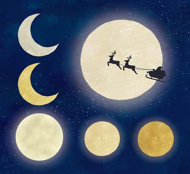 油彩風月いろいろと夜空とサンタクロース