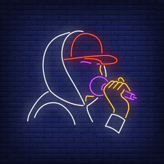 Rapper with microphone neon sign