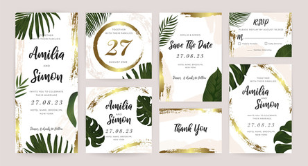 Wall Mural - Luxury Wedding Invitation Cards Collection Design Set