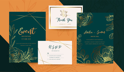 Luxury Wedding Invitation Cards Collection Design Set
