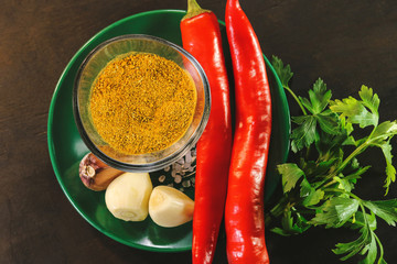 Canvas Prints Hot chili peppers seasonings for cooking meat. hot pepper, garlic.
