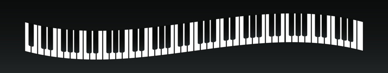 Vector illustration . curved piano keys. View from above.