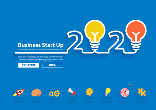 Creative light bulb idea with 2020 new year design, Inspiration business plan, marketing strategy, teamwork, brainstorm ideas concept, Vector illustration modern design layout template