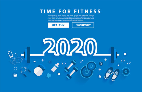 2020 new year fitness concept workout typography alphabet design with equipment. Vector illustration flat modern layout template