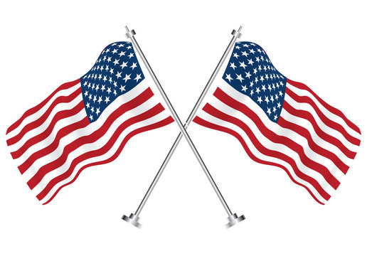 Crossed Flags of USA. Vector Illustration.