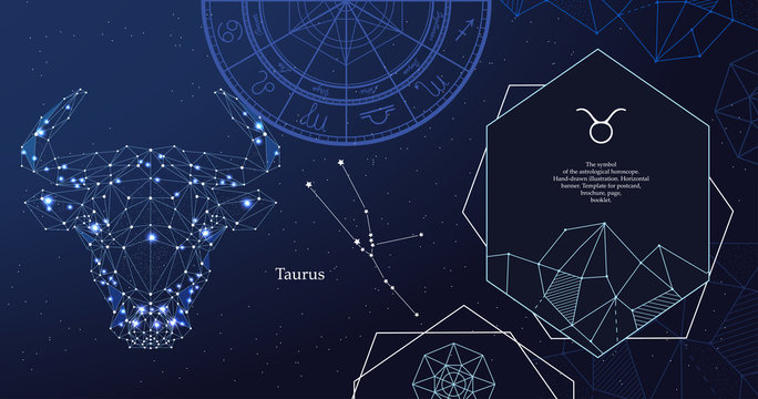 Zodiac sign Taurus. The symbol of the astrological horoscope. Horizontal banner.