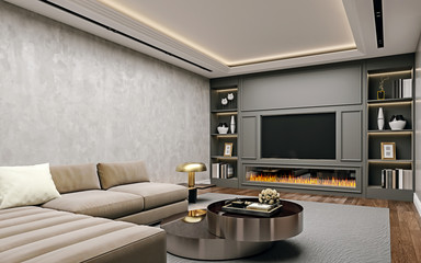 Fototapeta Modern interior design of living room in basement, angled close up view of tv wall with book shelves, stucco plaster, wooden flooring, 3d rendering