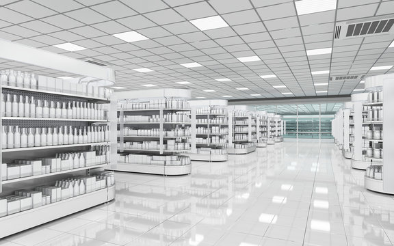 Interior of a supermarket with shelves for goods. 3d illustration