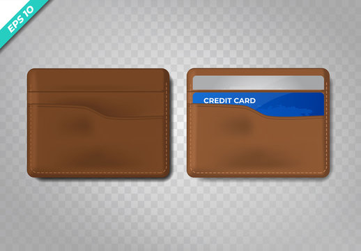 Leather wallet realistic with blue credit card . Vector