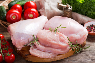 fresh turkey meat with ingredients for cooking