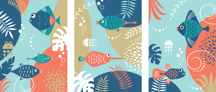 Collection of abstract background designs with tropical fishes