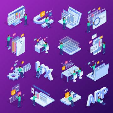 Web Development Isometric Concept Icon Set