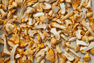 Mushrooms dried on the table. Mushrooms are peeled and cut into pieces. Drying products in the sun.
