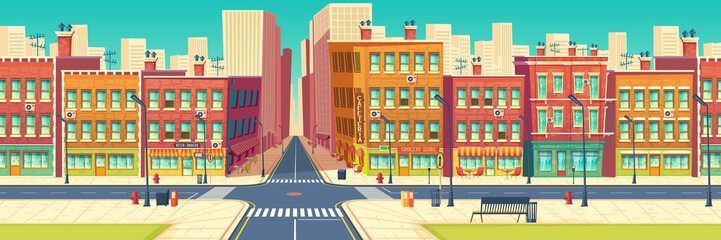 Old quarter street, city historical center district in modern metropolis cartoon vector. Roads crossing and crosswalks, cafe, restaurant, store showcases in retro architecture buildings illustration Fototapete