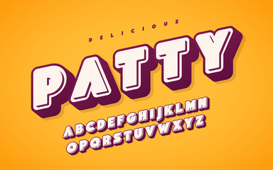 Cool and funny english alphabet letters. Vector illustration