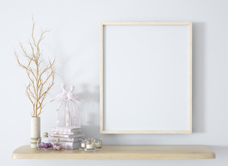 Branch in white vase on the wooden shelf with frame background 3d rendering