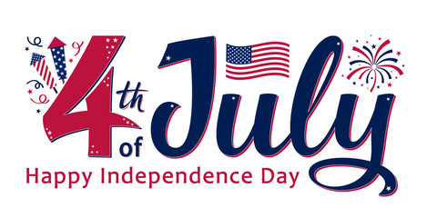 4th of July, United Stated independence day. Template design for poster, banner, postcard, flyer, greeting card. American national day. Vector illustration with stars, fireworks and USA flag.