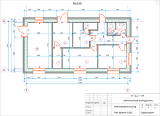 Obraz Architectural plan of the administrative building. Color version with place for text and copy space. - fototapety do salonu