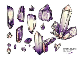 Hand drawn crystal cluster. Vector mineral illustration. Amethyst or quartz stone. Isolated natural gem. Geology set. Use for decoration, flyer, banner, halloween, wedding, witch stuff. Wall mural