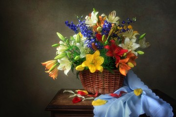 Still life with splendid bouquet of lily