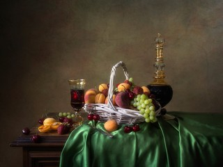 Still life with fruits and bottle of wine